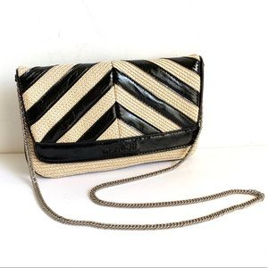 Chevron Patent Leather Woven Straw Bag Crossbody